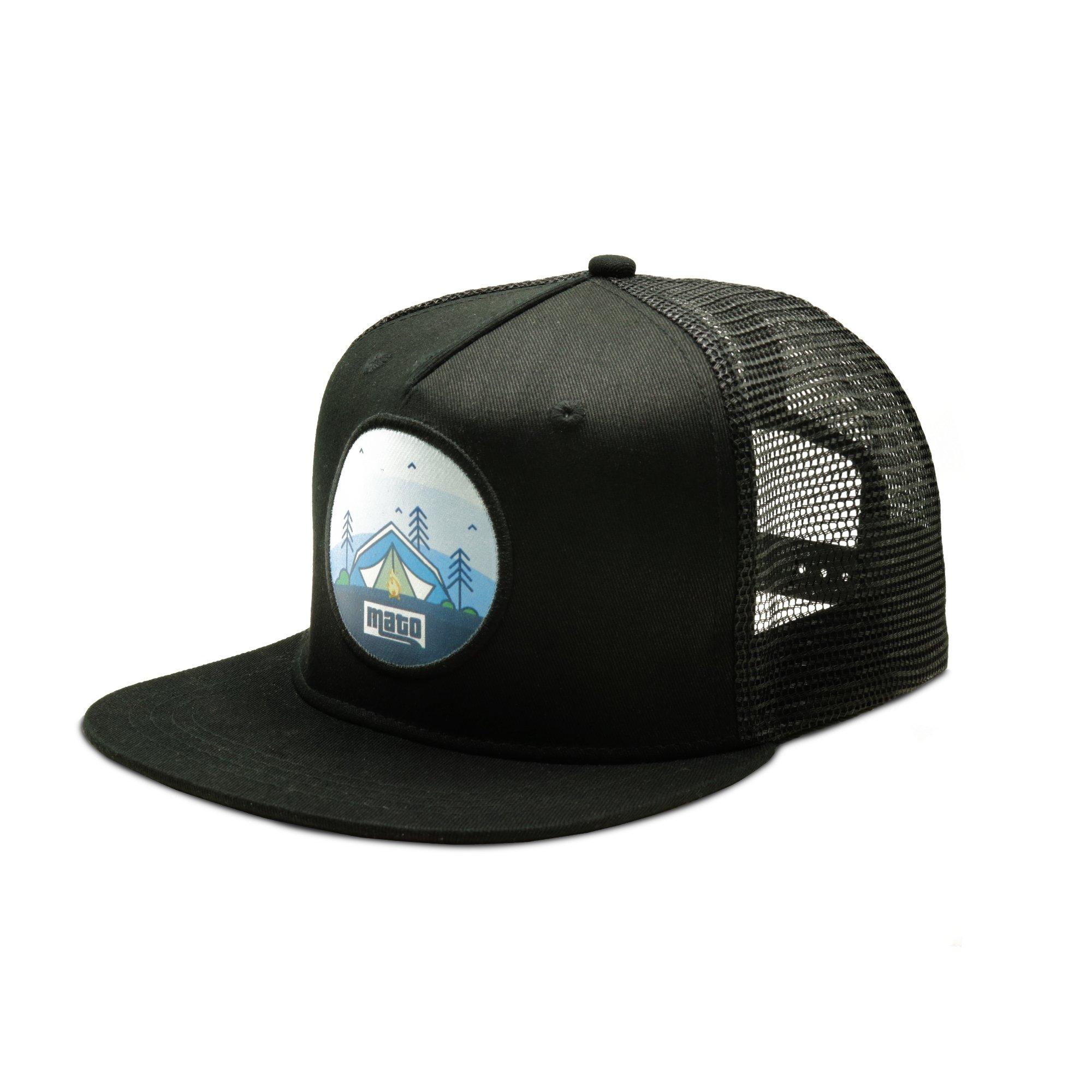 Mato Trucker Hat Snapback Happy Camper Flat Brim Mesh Baseball Cap Black