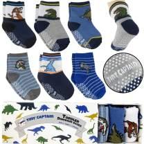 Tiny Captain Boy Dinosaur Toddler Socks - Baby Boys Dinosaur Sock 1-3 Year Old Non Slip Grips 8-36m Gift 6 Pack (Blue)