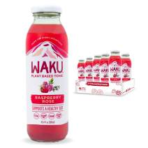 Waku Iced Tea - Unsweetened Raspberry Rose - All Natural Herbal Tea Brewed With Mint, Lemon Balm, Lemongrass, Fennel, Chamomile - Gut Health Support, Immunity Support - 6 Pack - 10oz Bottles