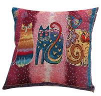 ChezMax Cotton Linen Blend Cushion Square Decorative Throw Pillow Cat Series Three Cats