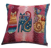 ChezMax Cotton Linen Blend Cushion Square Decorative Throw Pillow Cat Series Three Cats