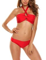 ADOME Women's Push Up Two Piece Bikini Swimsuits Padded Swimwear Bathing Suits