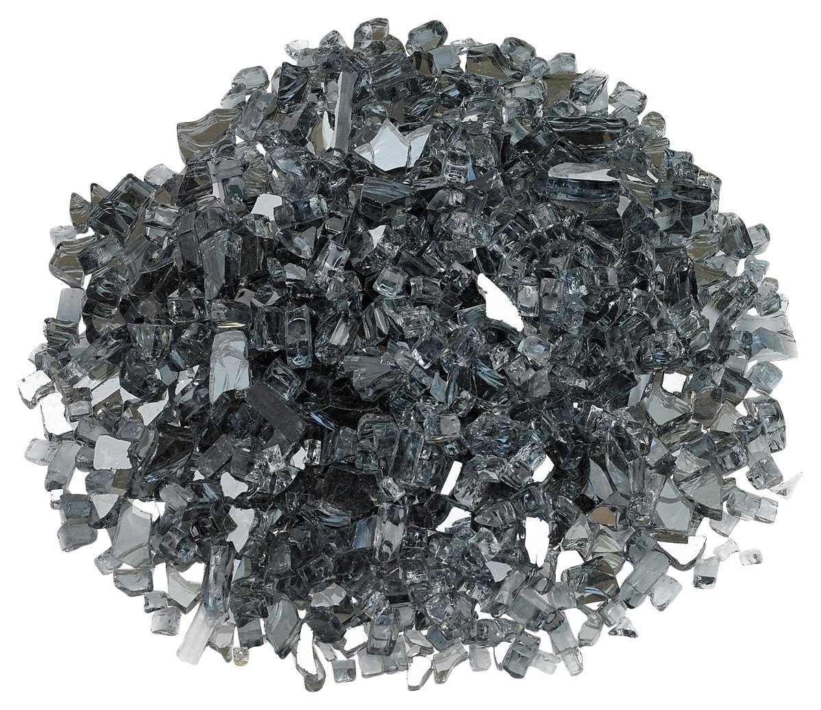 "American Fireglass 1/4"" Gray Reflective Fire Glass, 20 lb. Bag"