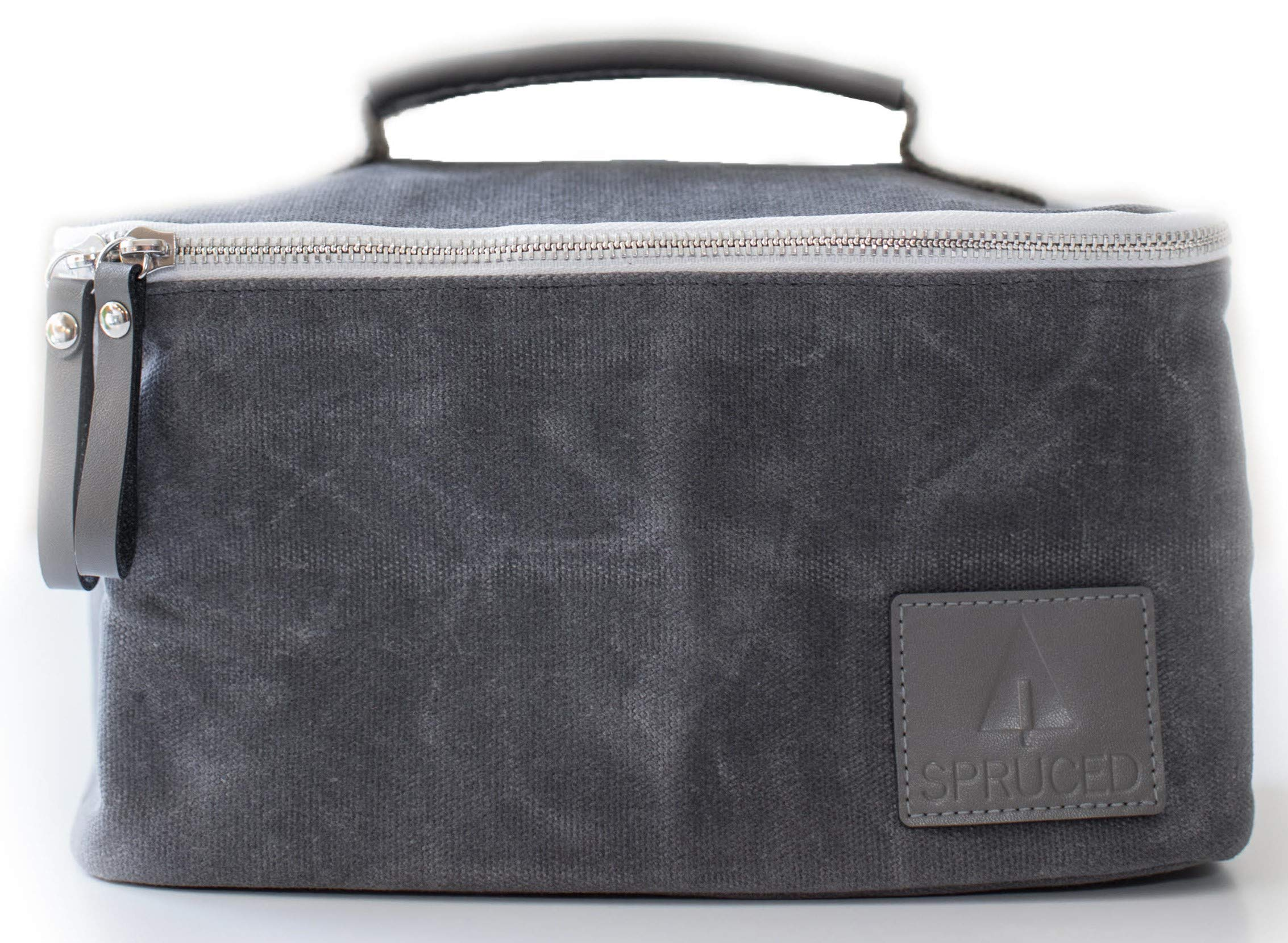 Lunch Box for Adults, Men, Women, Kids | Insulated Cooler Bag | Waxed Canvas and Genuine Leather | Reusable, Eco Friendly | Stylish, Classic Look (Slate Gray)