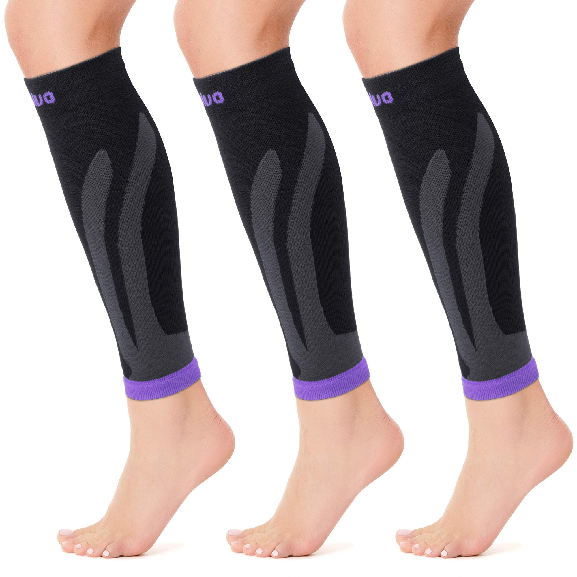 CAMBIVO 3 Pairs Calf Compression Sleeve for Women and Men,Leg Brace for Running, Cycling, Shin Splint Support for Working Out