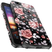 ZTE Blade Force Case,ZTE Wrap 8 Case, Miss Arts Slim Anti-Scratch with [Drop Protection] Cute Girls Women Heavy Duty Dual Layer Hybrid Protective Cover Case for ZTE N9517 -Rose Flower