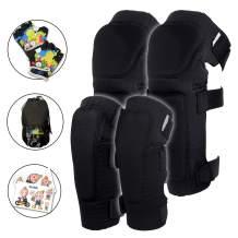 Innovative Soft Kids Knee and Elbow Pads with Bike Gloves I Toddler Protective Gear Set w/Mesh Bag I Comfortable & CSPC Certified I Bike, Roller-Skating, Skateboard Knee Pads for Kids Child Boys Girls
