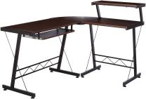 BHG L Shape Computer Desk with Slide-Out Keyboard, Brown with Black Frame