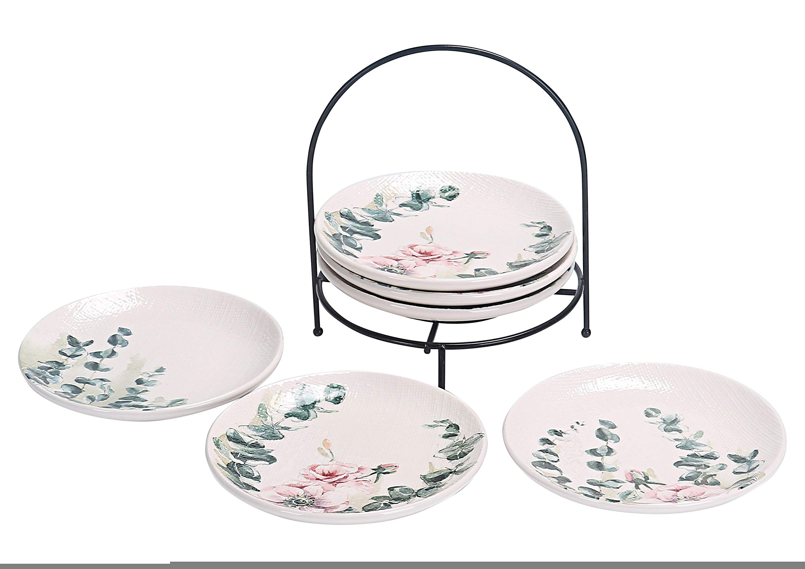 Bico Spring Eucalyptus 6 inch Ceramic Appetizer Plate with Rack, Set of 7, for Salad, Appetizer, Snacks, Plates Microwave & Dishwasher Safe