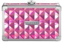 "Vaultz Locking Supplies & Pencil Box with Key Lock, 5""x 2.5""x 8.5"", Pink Reflective Diamond (VZ00777)"