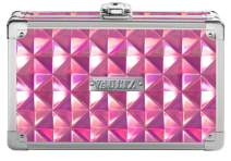 "Vaultz Locking Supplies & Pencil Box with Key Lock, 5""x 2.5""x 8.5"", Pink Reflective Diamond (VZ00777)"