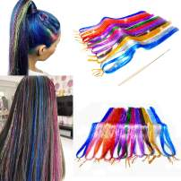 Fairy Hair Tinsel with Kit Tools 12 Colors 2300 Strands Dazzle Glitter Extensions Sparkling Shiny Hair Flairs Extensions Silk Strands Kit (48inch,12 Colors)