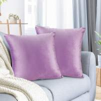 """Nestl Bedding Throw Pillow Cover 20"""" x 20"""" Soft Square Decorative Throw Pillow Covers Cozy Velvet Cushion Case for Sofa Couch Bedroom, Set of 2, Lavender"""
