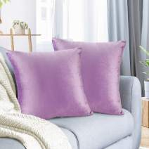 """Nestl Bedding Throw Pillow Cover 18"""" x 18"""" Soft Square Decorative Throw Pillow Covers Cozy Velvet Cushion Case for Sofa Couch Bedroom, Set of 2, Lavender"""