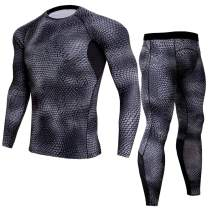 Gafeng Mens Compression Shirts Pants Workout Set Running Solid Mesh Tight Quick Dry Yoga Jogger Base Layer Suit