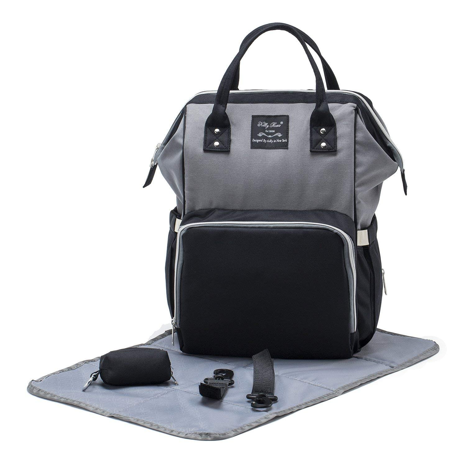 SoHo WideOpen Diaper Backpack Tote 4Pc, Gray Black