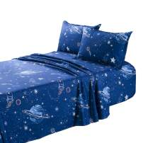 TOTORO Planet Odyssey Trek Printed Sheets Set Twin Full Queen Size 4 Piece Fitted Sheet Flat Sheet 2 Pillowcases, Microfiber Sheets for Matresses, Navy Blue for Kids Girls (Planet Trek, Blue, Queen)