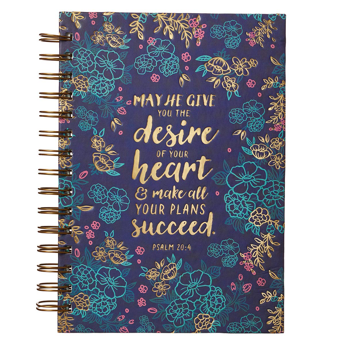 """Christian Art Gifts Large Hardcover Notebook/Journal  Desire Of Your Heart – Psalm 20:4 Bible Verse   Blue Floral Inspirational Wire Bound Spiral Notebook w/192 Lined Pages, 6"""" x 8.25"""""""