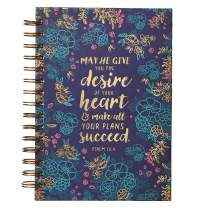 "Christian Art Gifts Large Hardcover Notebook/Journal |Desire Of Your Heart – Psalm 20:4 Bible Verse | Blue Floral Inspirational Wire Bound Spiral Notebook w/192 Lined Pages, 6"" x 8.25"""