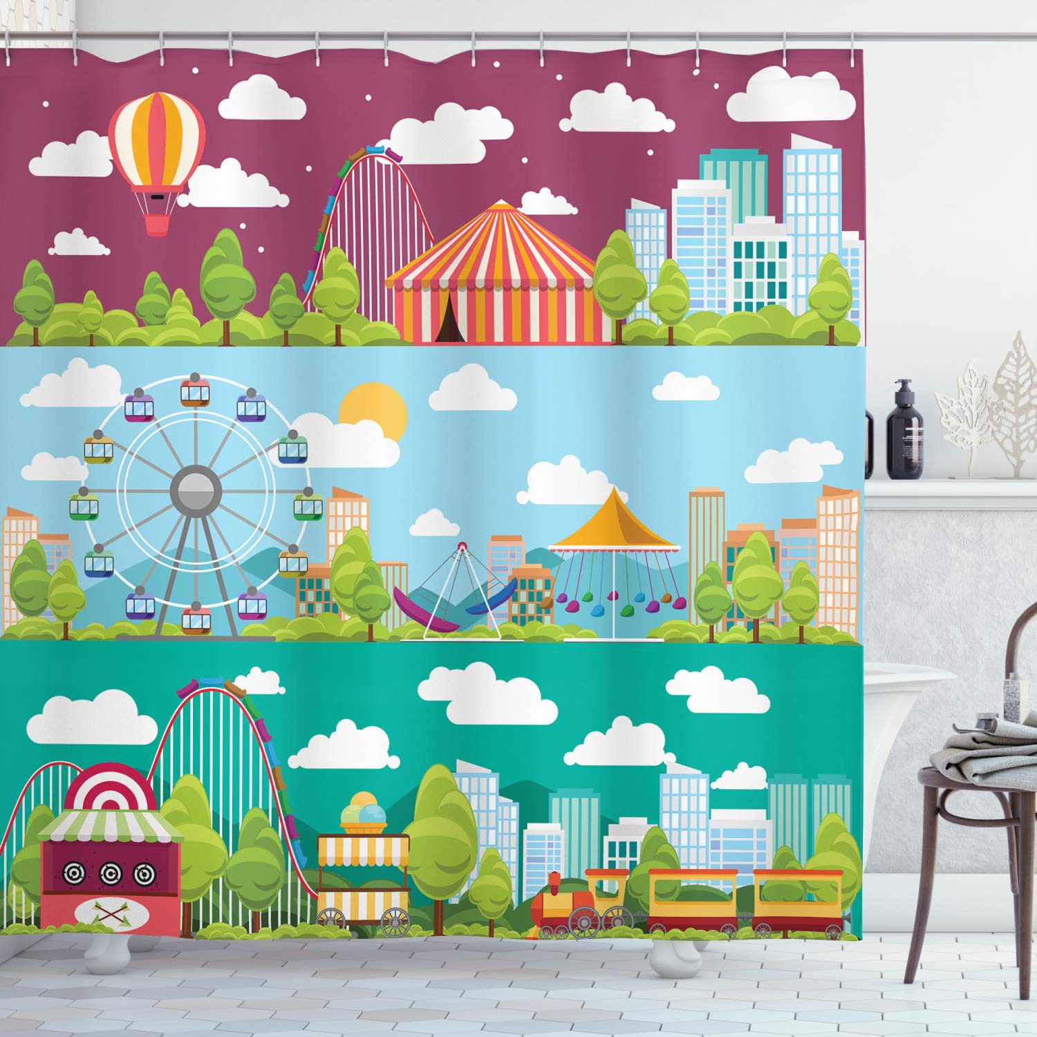 """Ambesonne Circus Shower Curtain, Conceptual City Banners with Carousels Slides and Swings Ferris Wheel Attraction, Cloth Fabric Bathroom Decor Set with Hooks, 70"""" Long, Rouge Blue"""