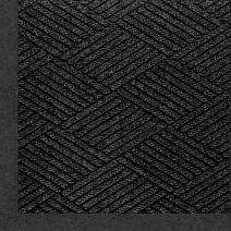 "M+A Matting 2297 Waterhog Eco Premier Fashion PET Polyester Fiber Indoor/Outdoor Floor Mat, SBR Rubber Backing, 5' Length x 3' Width, 3/8"" Thick, Black Smoke"