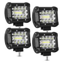 LED Pods, AAIWA 4 Inch 60W LED Light Bar, 4PCS Spot Flood Combo Off Road Light Triple Row LED Work Light 6000LM Driving Fog Lamps for Pickup Truck Jeep ATV UTV SUV Boat Light