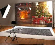Laeacco 10x6.5ft Vinyl Photography Backdrop Interior Christmas Magic Glowing Tree Fireplace Gifts Red Stocking Scene Photo Background Children Baby Adults Portraits Backdrop