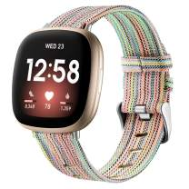 Witzon Woven Fabric Bands Compatible with Fitbit Versa 3 / Fitbit Sense, Breathable Replacement Straps Wristbands for Fitbit Sense/Versa 3 Smartwatch for Women Men, Large, Colorful
