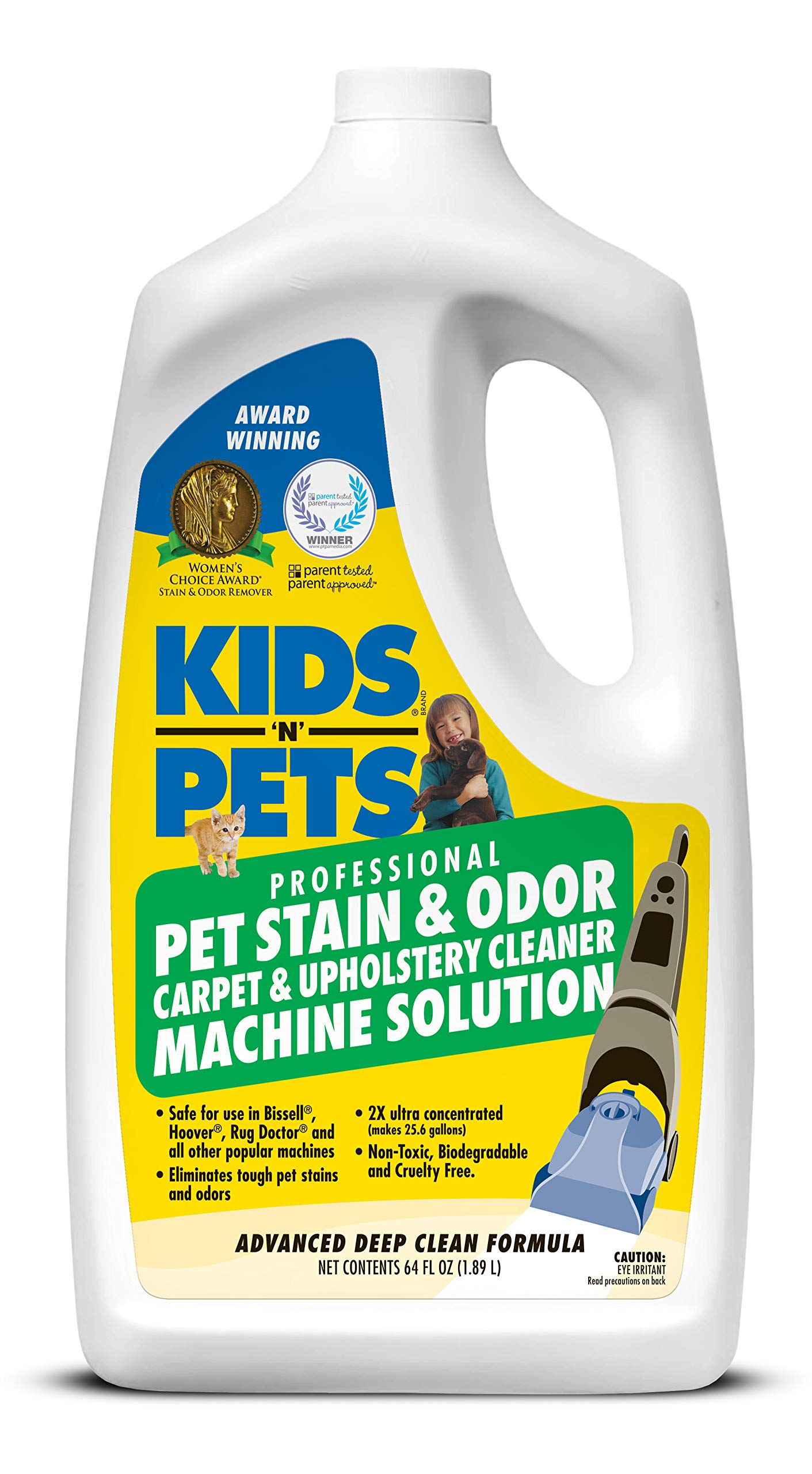 KIDS 'N' PETS - Pet Stain & Odor - Carpet & Upholstery Cleaner Machine Solution – 64 oz   Professional Strength Formula Deeply Cleans Carpet & Upholstery   Non-Toxic & Child Safe