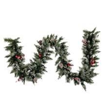 "Vickerman Artificial Snow Tipped Pine Christmas-Garlands, 9' x 12"", Green"