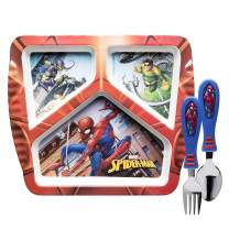 Zak Designs Marvel Comics Spider Man Kids Dinnerware Set Includes Melamine Plate and Utensil Tableware, Made of Durable Material and Perfect for Kids (Spiderman, 3 Piece Set, BPA-Free)