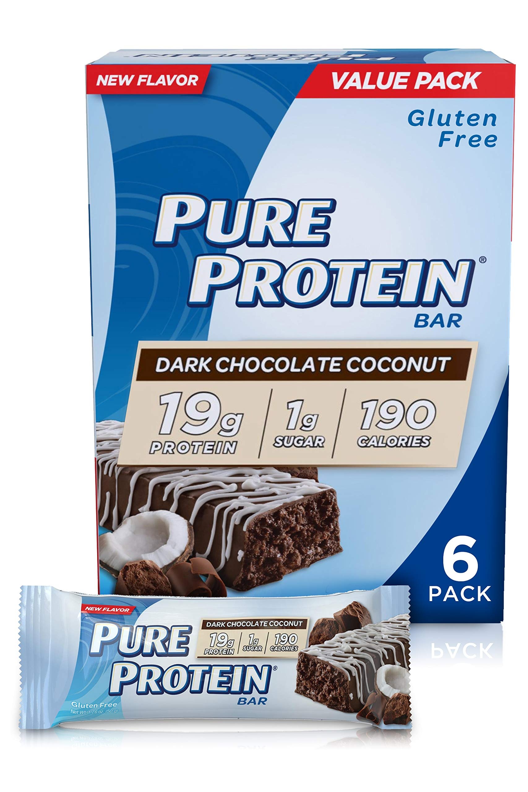 Pure Protein Bars, High Protein, Nutritious Snacks to Support Energy, Low Sugar, Gluten Free, Dark Chocolate Coconut, 1.76oz, 6 Pack