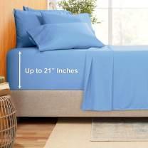 "Extra Deep Pocket Sheets - Bamboo Blend 7-Piece 21"" Bed Sheet Set – Bamboo and Microfiber Blend – Extra Deep Bed Sheet – Ultra Deep Sheets For Deep Pockets Mattress - Split King Size - Light Baby Blue"