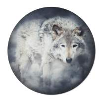 Metal Wall Art - Round Wolf Hanging Wall Decor - Handmade in the USA for Use Indoors or Outdoors