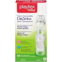 Playtex Baby Nurser Drop-Ins Liners, Pre-Sterilized, Recyclable Disposable Liners for Nurser Bottles, 8 Ounce Liners, 50 Count
