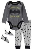 DC Comics Batman 3 Piece Infant Boys Long Sleeve Bodysuit with Pullon Pants and Matching Shoes
