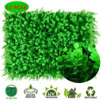 "LeHom 31 Square Feet 24"" x 16"" 12 Pack 308 Artificial Green Grass Boxwood Hedge Wall Greenery Panels High Density"