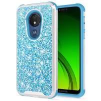 Zizo Stellar Series Compatible with Motorola Moto g7 Supra Case Dual Layer with Glitter Design g7 Power Baby Blue