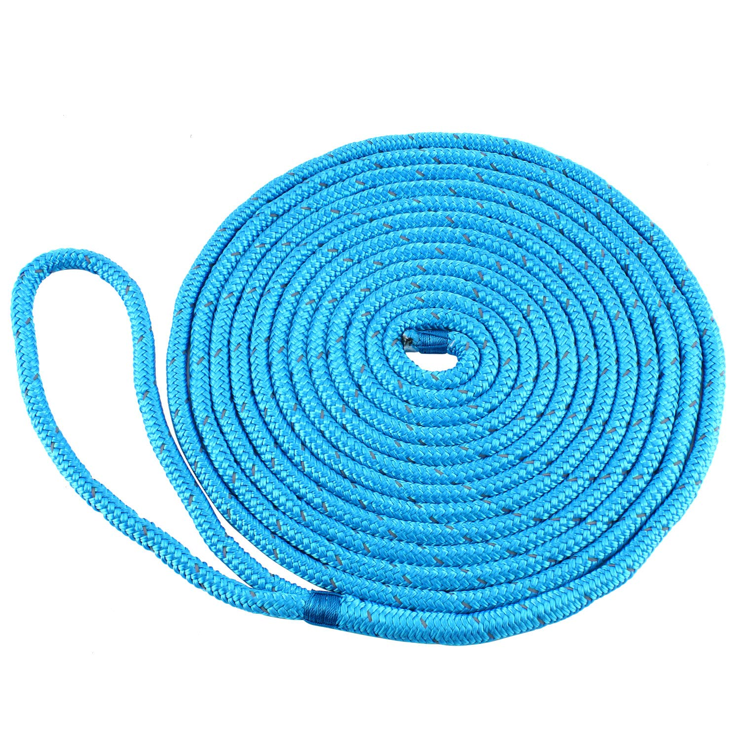 Amarine Made 3/8 Inch 15 FT Reflective Double Braid Nylon Dockline Dock Line Mooring Rope Double Braided Dock Line,Color : Black, White, Blue