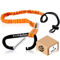 KwikSafety (Charlotte, NC) TENTACLE (5 PACK) Light Duty Tool Lanyard with Aluminum Carabiner Clip Coiled Retractable Bungee Cord with Loop & Adjustable Lock Fall Protection | 10 lb Working Limit