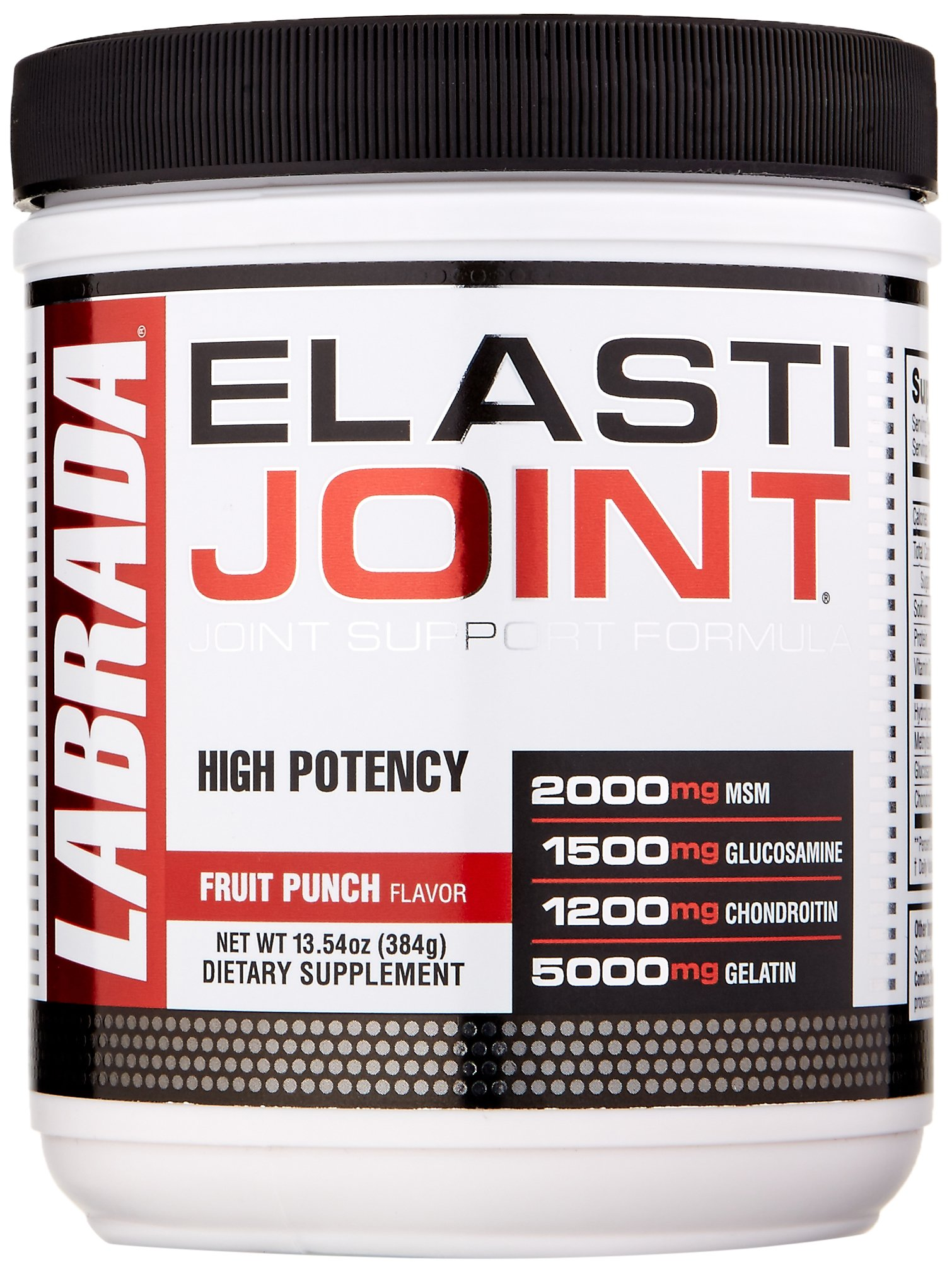 Labrada Elastijoint - Joint Support Powder, All In One Drink Mix with Glucosamine Chondroitin, MSM and Collagen, Fruit Punch, 30 Servings