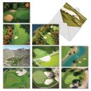 Golf-Themed Thank You Greeting Cards with Envelopes (Box of 10), 'Golf Cards' All-Occasion Stationery Set Featuring Aerial Views of Golf Courses 4 x 5.12 inch M6458TYG
