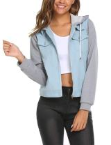 Zeagoo Women Layered Drawstring Hood Denim Jacket with Pockets (Light Blue,XXL)