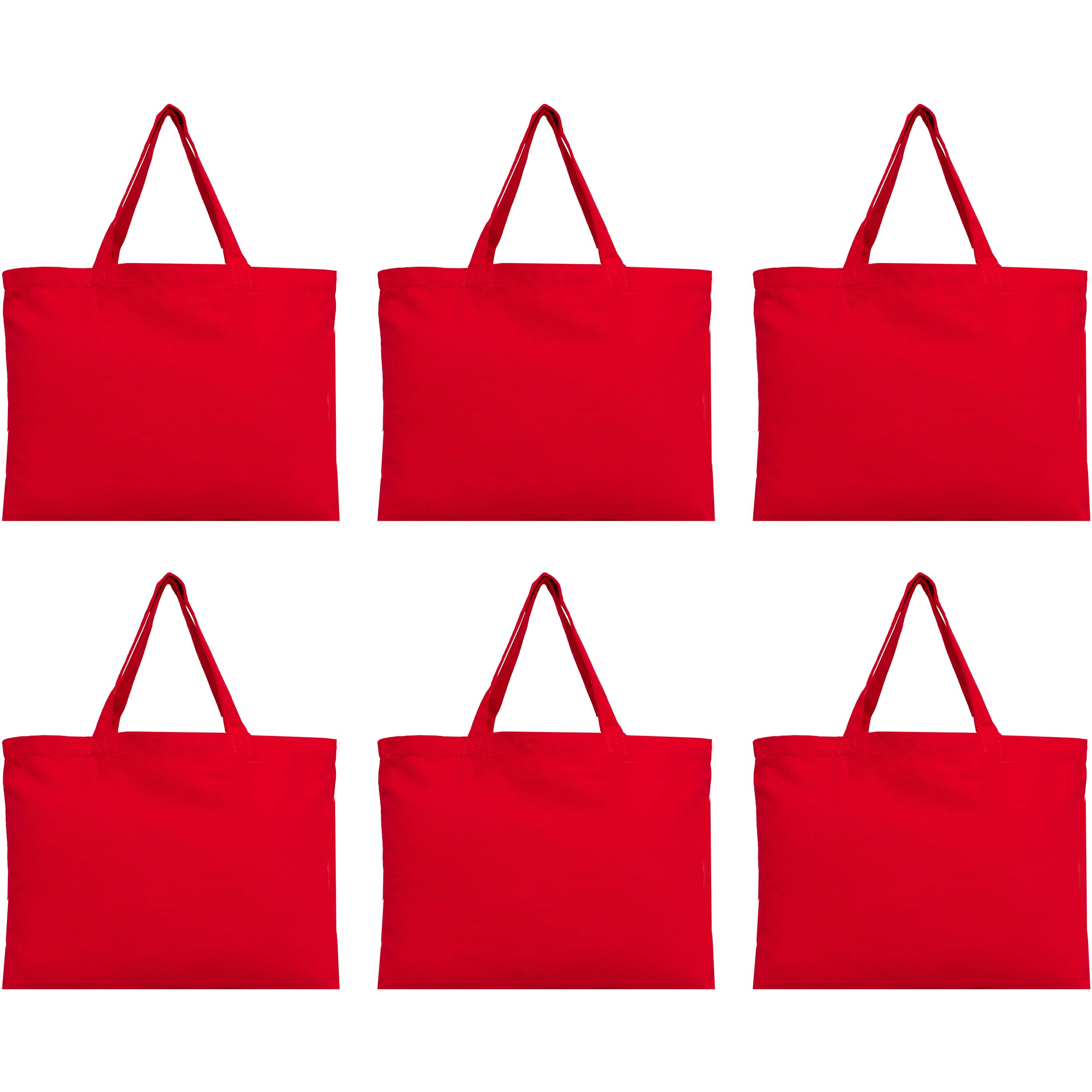 Reusable Heavy Duty 100% Cotton Canvas Bags by Threadart | Pack of 6 | For Crafts, Shopping, Groceries, Books, Welcome Bag, Beach Bag, and More | Eco Friendly | Generous Size 12x16 - Red