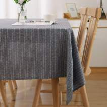 Deconovo Rectangle Tablecloth 54 x 84 Inch Striped Dark Grey Table Cover in Washable Polyester for Family Dinners Parties Hotels and More