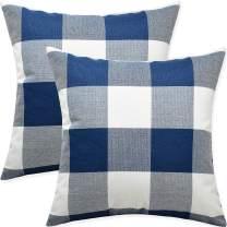Artaimee Dark Blue and White Buffalo Check Plaid Throw Pillow Covers 18x18 Pack of 2 Pillowcase Bed Couch Cushion Case