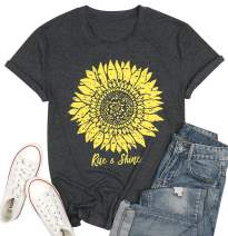 Sunflower Shirts for Women Rise Shine Faith Tops Short Sleeve Casual Graphic Inspirational Tees