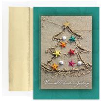 Masterpiece Warmest Wishes 18-Count Christmas Cards, Sand Tree