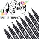 Hand Lettering Pens, Calligraphy Brush Pens Art Markers for Beginners Writing, Sketching, Drawing, Cartoon, Caricature, Illustration, Scrapbooking, Bullet journaling, Black Ink Pen Set, 8 Size