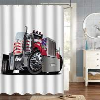 """VVA Semi Truck Fabric Shower Curtain, Boys Cartoon Speeding 18 Wheeler with American Flag, Cloth Apartment Decor Set with Hooks for Bathroom, 72"""" Long, USA Striped Multicolor Red White and Blue"""